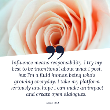 Influence means responsibility. I try my best to be intentional about what I post but Im a flawed human being whos growing everyday. I take my platform seriously and hope I can make an impact and create open dialogues.
